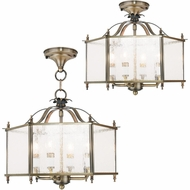 Livex 4399-01 Livingston Antique Brass Entryway Light Fixture / Ceiling Light Fixture