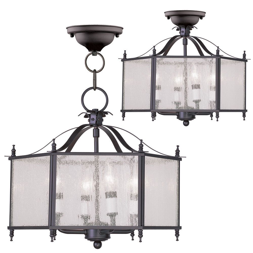 Foyer Lighting Fixtures Flush Mount : Livex livingston bronze foyer light fixture