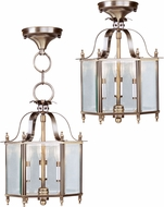 Livex 4403-01 Livingston Antique Brass Entryway Light Fixture / Flush Mount Light Fixture