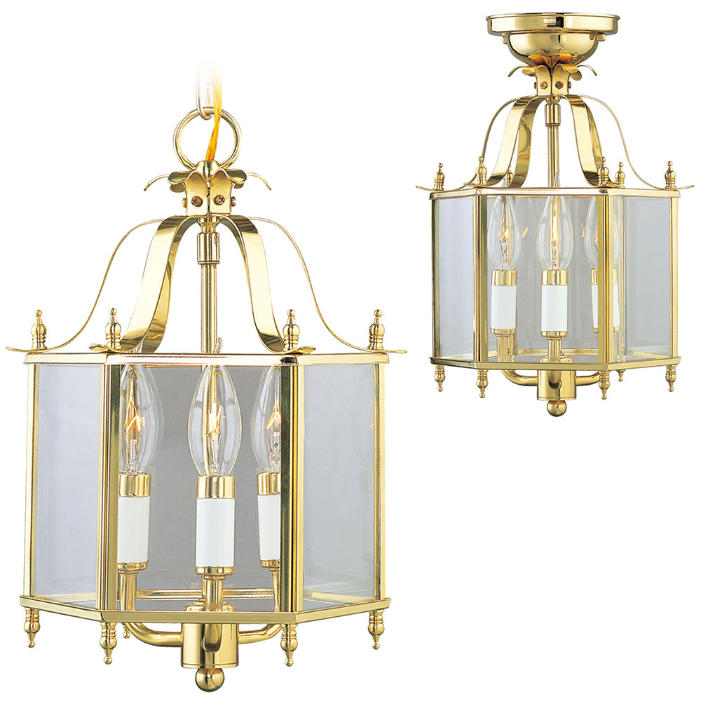 Foyer Lighting Fixtures Flush Mount : Livex livingston polished brass foyer lighting
