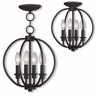 Livex 4664-07 Milania Bronze Pendant Light / Flush Mount Lighting Fixture