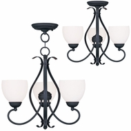 Livex 4763-04 Brookside Black Mini Ceiling Chandelier / Flush Lighting