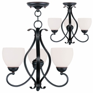 Livex 4763-67 Brookside Olde Bronze Mini Hanging Chandelier / Flush Mount Lighting
