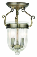 Livex 50512-01 Coventry Antique Brass Flush Ceiling Light Fixture