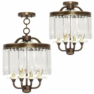 Livex 50543-64 Ashton Hand Painted Palacial Bronze Mini Chandelier Light / Flush Mount Ceiling Light Fixture