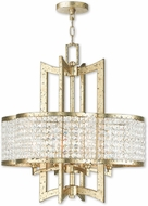 Livex 50575-28 Grammercy Hand Applied Winter Gold Mini Hanging Chandelier