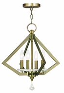 Livex 50664-01 Diamond Modern Antique Brass Mini Lighting Chandelier