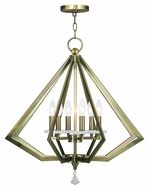 Livex 50666-01 Diamond Contemporary Antique Brass Hanging Chandelier