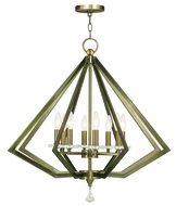 Livex 50668-01 Diamond Modern Antique Brass Chandelier Lamp