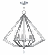 Livex 50668-91 Diamond Modern Brushed Nickel Ceiling Chandelier