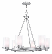 Livex 50676-91 Manhattan Contemporary Brushed Nickel Hanging Chandelier