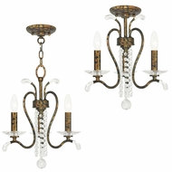 Livex 51003-71 Serafina Hand Applied Venetian Golden Bronze Mini Chandelier Lighting / Overhead Lighting