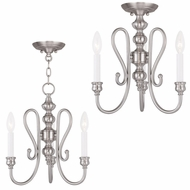 Livex 5163-91 Caldwell Brushed Nickel Mini Ceiling Chandelier / Flush Mount Ceiling Light Fixture