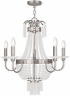 Livex 51845-91 Valentina Brushed Nickel Chandelier Lamp