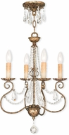 Livex 51904-36 Isabella Hand Applied European Bronze Mini Chandelier Light