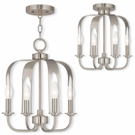 Livex 51934-91 Addison Modern Brushed Nickel Mini Hanging Chandelier / Ceiling Light Fixture