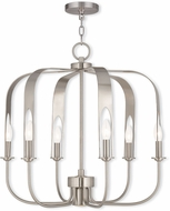 Livex 51936-91 Addison Modern Brushed Nickel Halogen Lighting Chandelier