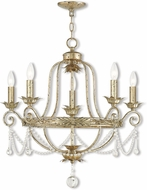Livex 51955-28 Sophia Hand Applied Winter Gold Chandelier Lighting