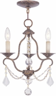 Livex 6423-71 Chesterfield Hand Applied Venetian Golden Bronze Mini Chandelier Lighting