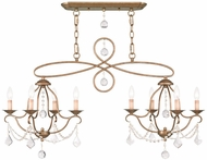 Livex 6437-48 Chesterfield Antique Gold Leaf Island Light Fixture