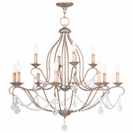 Livex 6438-73 Chesterfield Hand Painted Antique Silver Leaf Ceiling Chandelier