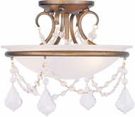 Livex 6523-48 Chesterfield/Pennington Antique Gold Leaf Flush Ceiling Light Fixture