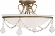 Livex 6524-73 Chesterfield/Pennington Hand Painted Antique Silver Leaf Ceiling Light Fixture
