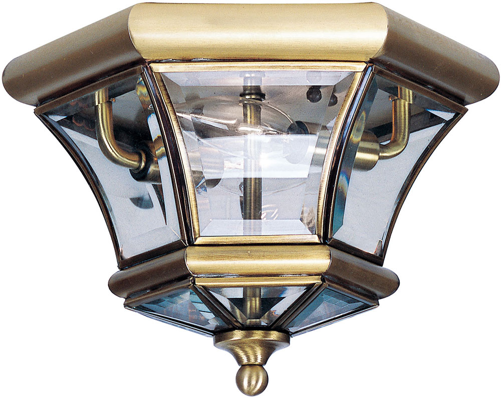 Livex 7052 01 Monterey Georgetown Antique Brass Outdoor Flush Mount Ceiling Light Fixture Lvx