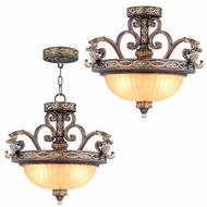 Livex 8544-64 Seville Traditional Palacial Bronze with Gilded Accents Pendant Hanging Light / Flush Ceiling Light Fixture