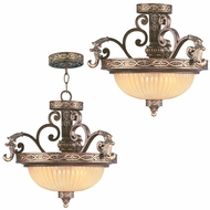 Livex 8547-64 Seville Traditional Palacial Bronze with Gilded Accents Hanging Light Fixture / Flush Mount Ceiling Light Fixture