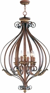 Livex 8558-63 Villa Verona Verona Bronze with Aged Gold Leaf Accents 25.75  Foyer Lighting Fixture