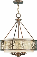Livex 8675-64 Avalon Palacial Bronze with Gilded Accents 18  Drum Pendant Lamp