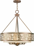 Livex 8676-64 Avalon Palacial Bronze with Gilded Accents 22  Drum Hanging Lamp
