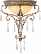 Livex 8810-65 La Bella Hand Painted Vintage Gold Leaf Wall Sconce Lighting