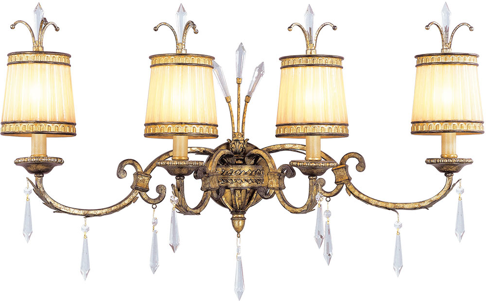 Bathroom Light Fixtures In Gold livex 8814-65 la bella hand painted vintage gold leaf 4-light