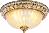 Livex 8819-65 La Bella Traditional Hand Painted Vintage Gold Leaf ADA 15  Ceiling Light Fixture