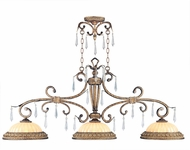 Livex 8883-65 La Bella Traditional Hand Painted Vintage Gold Leaf Kitchen Island Light