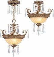 Livex 8892-65 La Bella Traditional Hand Painted Vintage Gold Leaf Ceiling Pendant Light / Ceiling Lighting