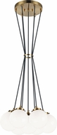Matteo C63007AGOP The Bougie Contemporary Aged Gold Brass Multi Ceiling Light Pendant