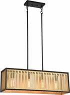 Matteo C67714MB Goldenguild Contemporary Matte Black & Brushed Gold Island Light Fixture