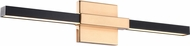 Matteo W64721MBAG Lineare Contemporary Matte Black & Aged Gold Brass LED Vanity Light