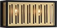 Matteo W67702MB Goldenguild Contemporary Matte Black & Brushed Gold 2-Light Bath Lighting Fixture