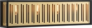 Matteo W67704MB Goldenguild Modern Matte Black & Brushed Gold 4-Light Bathroom Light Fixture