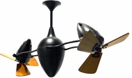 Matthews AR-BK-WD Ar Ruthiane Contemporary Matte Black Interior/Exterior 48  Rotational Ceiling Fan with Mahogany Blades