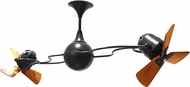 Matthews IV-BK-WD Italo Ventania Modern Matte Black Interior/Exterior 53  Rotational Home Ceiling Fan with Mahogany Blades