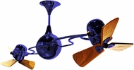 Matthews IV-BLUE-WD Italo Ventania Modern Blue Interior/Exterior 53  Rotational Ceiling Fan with Mahogany Blades