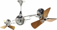 Matthews IV-CR-WD Italo Ventania Contemporary Polished Chrome Interior/Exterior 53  Rotational Ceiling Fan with Mahogany Blades