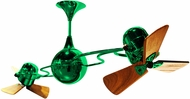 Matthews IV-GREEN-WD Italo Ventania Contemporary Green Interior/Exterior 53  Rotational Ceiling Fan with Mahogany Blades