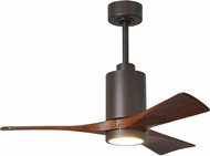 Matthews PA3-TB Patricia Contemporary Textured Bronze LED Walnut Tone 3 Blade Ceiling Fan