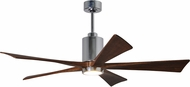 Matthews PA5-CR Patricia Contemporary Polished Chrome LED Walnut Tone 5 Blade Ceiling Fan